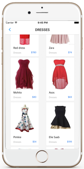 ecommerce ios app template dresses shopping screen iphone