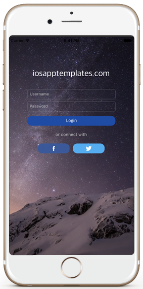 ecommerce ios app template login screen iphone