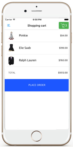 ecommerce ios app template shopping cart screen iphone