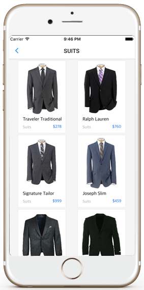 ecommerce ios app template suits screen iphone
