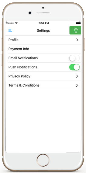 ecommerce ios app template user settings screen iphone