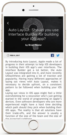 iOS app template wordpress site article details view