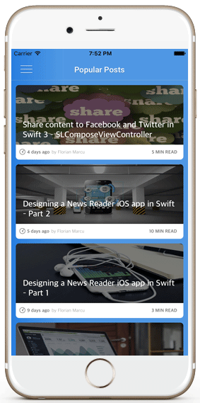 iphone blog posts wordpress ios app template medium cells