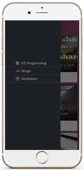 iphone wordpress blog posts native iOS app menu drawer