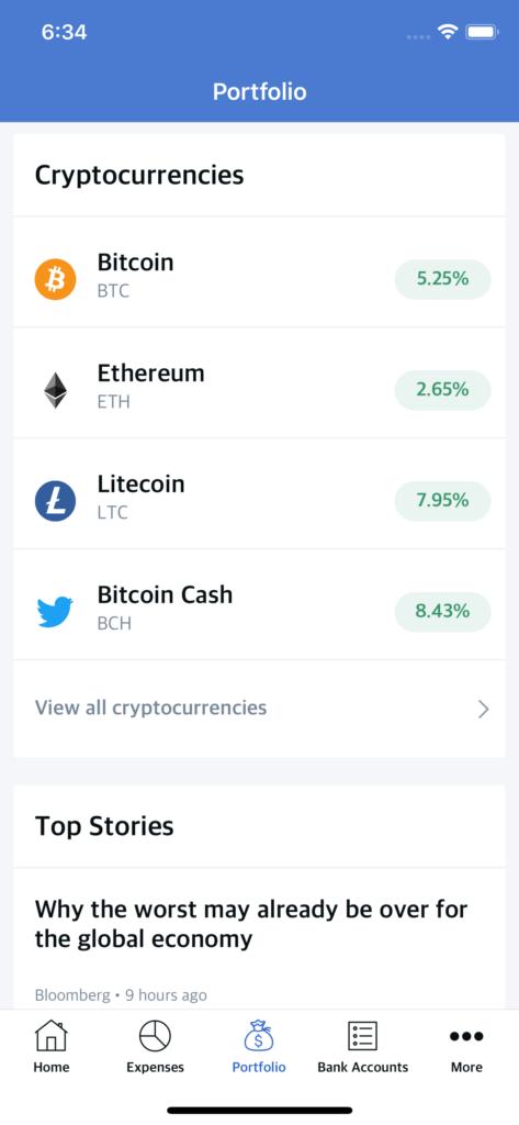 crypto portfolio app template