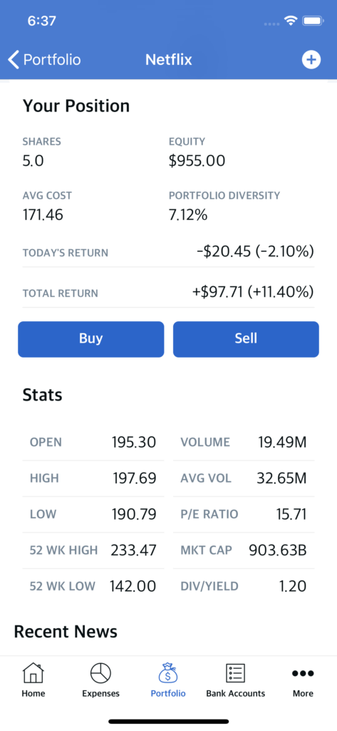 stocks buying app template