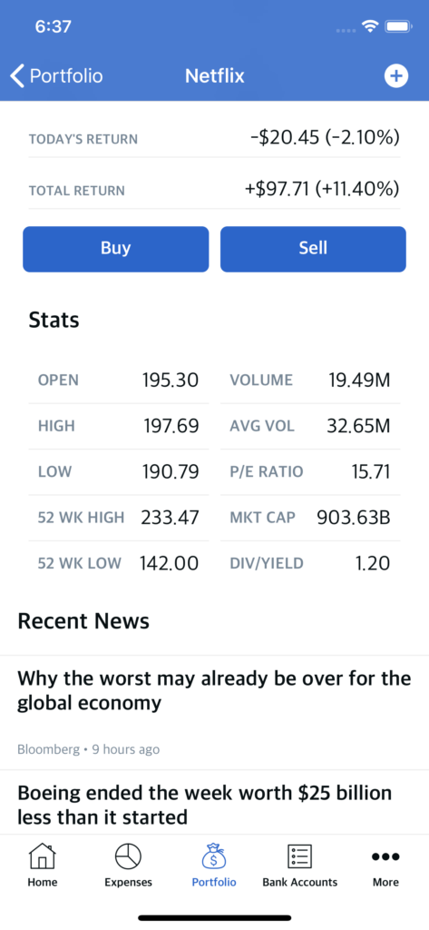stocks selling app template