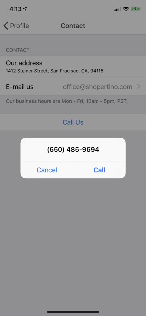 contact shopping app