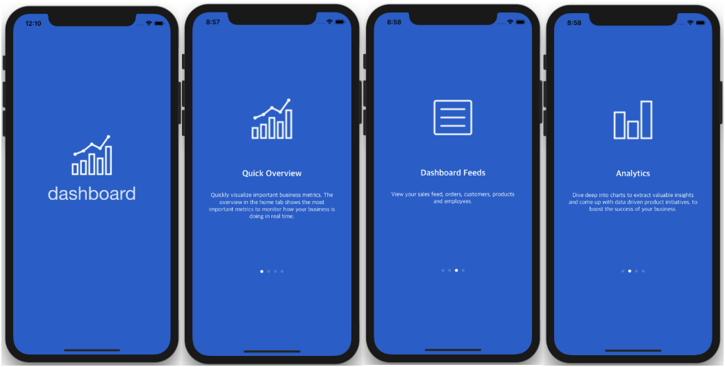 iOS Dashboard app template walkthrough analytics