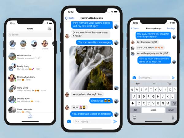 chat iphone app template firebase swift