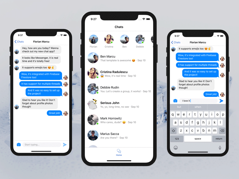 messenger swift iOS chat app free cover