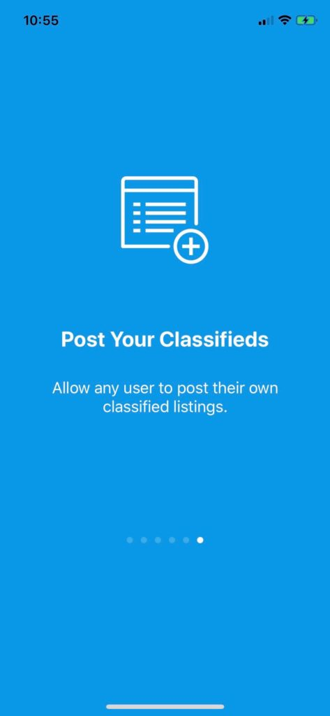 classifieds marketplace ios app template backend onboarding flow