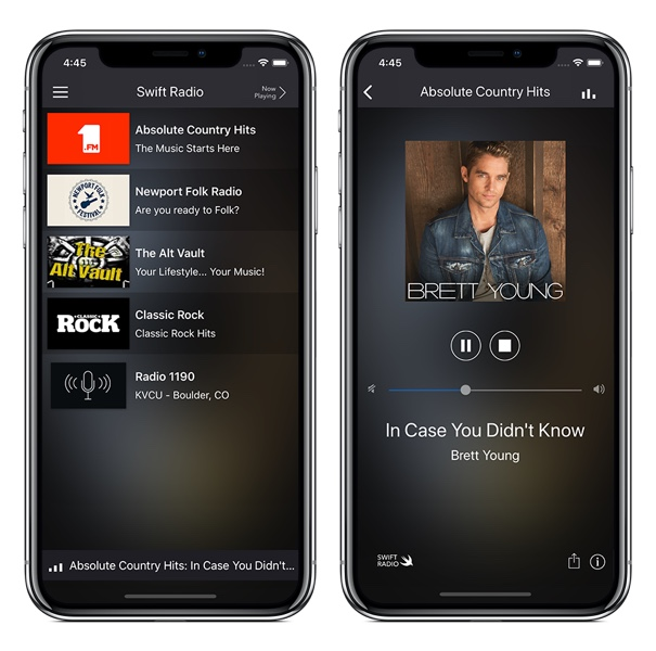free swift radio iOS app template