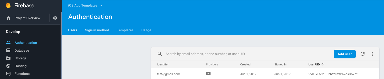 firebase authentication user id