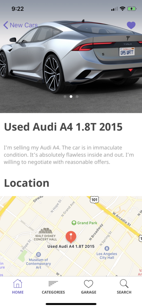 car dealership app template iOS Swift details