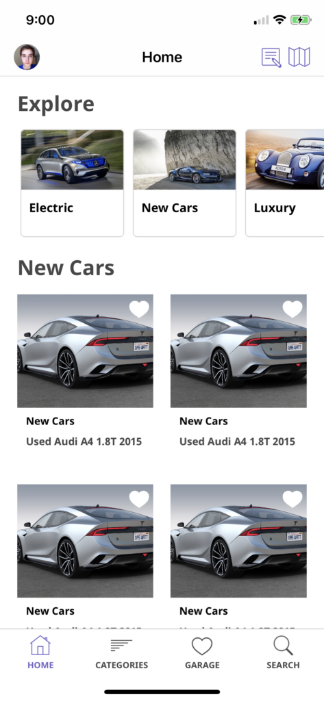 car dealership app template iOS Swift home