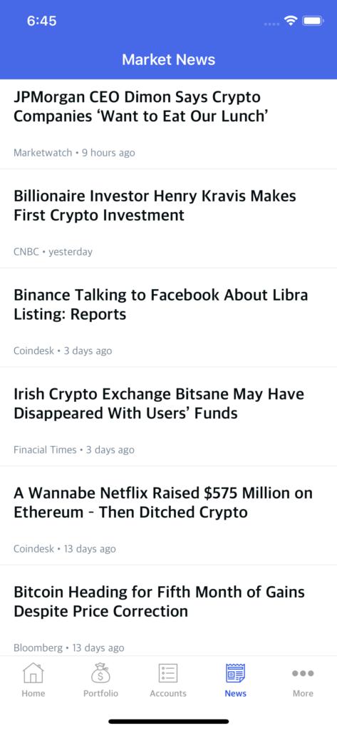 stocks watching app template