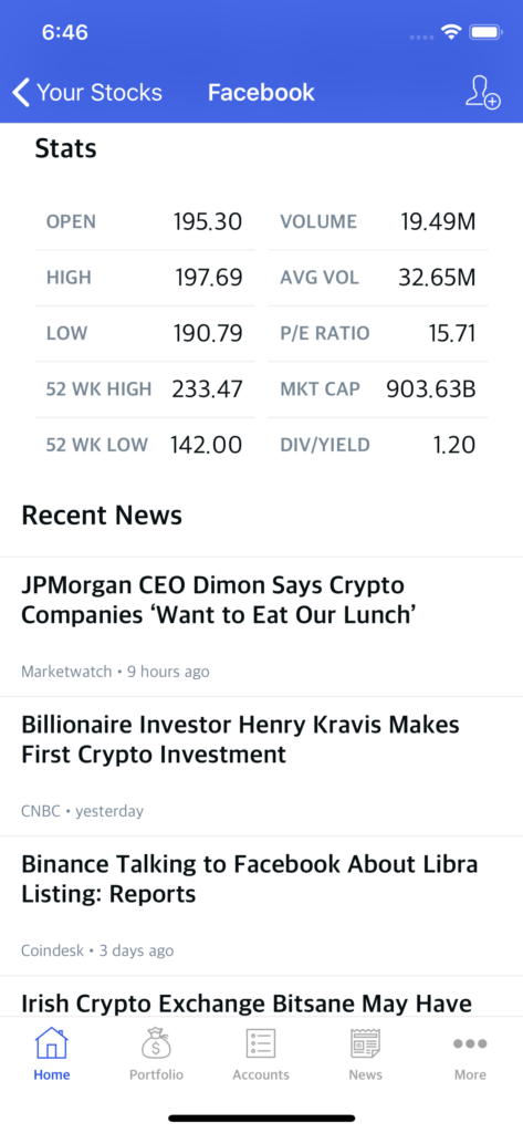stock trading app design