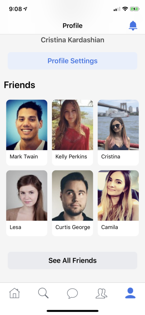iOS facebook clone