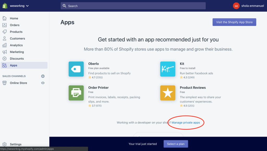 manage private app shopify